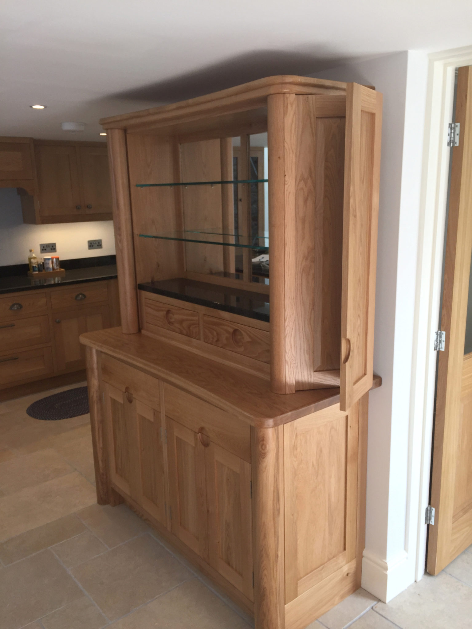Modern oak dresser mark stone 39 s welsh kitchens bespoke for Modern oak kitchen